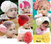 Free shipping  Girls lace headbands toddlers hair ornaments with big flowers baby wide headbands 12pcs/lot