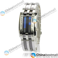 28 LED Blue Light Square Dial Matrix Stainless Steel LED Wristwatch Electronic Digital Watch Grey-Chinabestmall