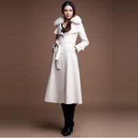 14fox fur wool coat medium-long slim woolen overcoat outerwear fy-028a P10