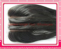"Silk Top closure 3 part 4""x4"" Brazilian virgin hair silk base closure straight DHL Shipping colosure hidden knots baby hair"