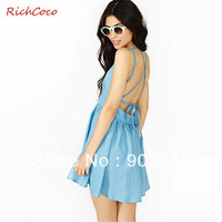 Free shipping women cowboy dress with double shoulder belt fold v neck high waist backless fashion cute european style D135