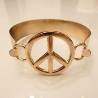Free shipping~Fashion gold peace mark wide bracelet 15pcs/lot