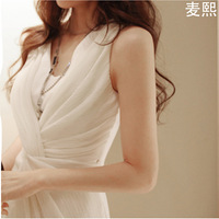 Free Shipping 2013 Chiffon Ladies Summer One-Piece Women's Slim Elegant White Formal Dress OL Outfit Skirt