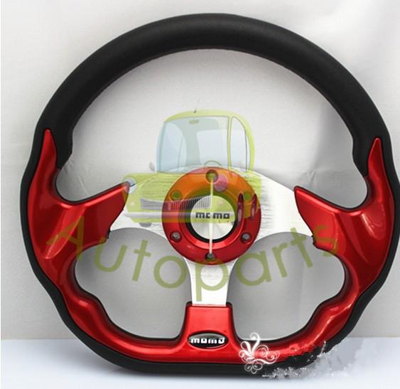 2013 MOMO Steering Wheel 13inches PU Sport Steering Wheel for Sports Car Racing Car/Racing Wheel With RedColor FreeShipping(China (Mainland))