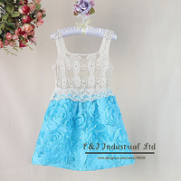 Children's Christmas Costumes Girl Dresses Blue Lace Party Dress for Kids Clothese GD30721-14