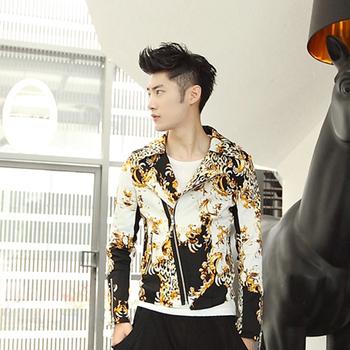 harajuku new 2015 jackets for men's leopard print gradient gold british motorcycle jacket casual men designer clothes short