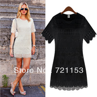 Europe station 2013 New summer women dress embroidered lace hollow temperament Slim Dress 9079