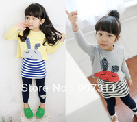 free shipping girl's clothing set girls' 2pcs set=t-shirt+dress kids autumn wear girls suit 2colors rabbit tshirt size 100-140cm