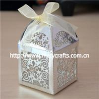 premium design!  250g metallic paper star shape laser cut wedding favor box
