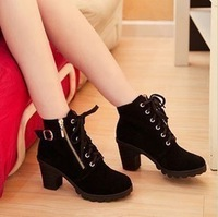Spring and autumn fashion scrub boots side zipper thick heel boots martin boots female shoes