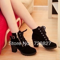 Spring in Europe matte side zipper boots naked boots with thick heel women shoes Martin boots knight