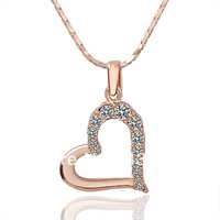 2013 women 18 k rose gold plated and Diamante heart-shaped necklace
