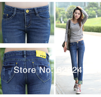 2013 new arrival brand blue autumn  jeans woman ,female jeans with hole ,big size available