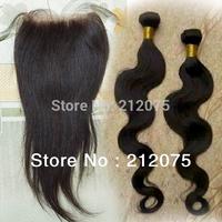 "Mix Lenght Brazilian Virgin Hair 1pcs Lace Top Closure 4x3.5""+2pcs body weve weft extensions Natural Color can be dyed 3pcs/lot"