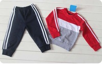 2013 new Wholesale 100%cotton Autumn Boys and girls between the color long-sleeved suitt,5 set/lot,Free Shipping