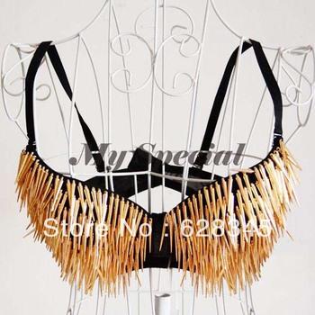 New Golden+ Black Women's Sexy Metallic Punk Tassel Bra 34/36B CUP Party Club Wear Rivet Underwire Bra S14346
