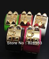 21 Colors 2015 New 5 pcs/lot New Arrival for Women Fashion Jewelry Punk PU Leather Rivet Bangle Bracelet