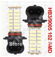 Free shippping 6pcs 9005 HB3 102 SMD Pure White FOG DAY RUNNING Car 102 LED Head Light Lamp Bulb V6 12V