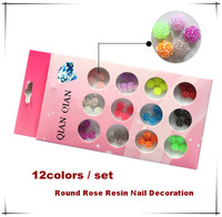 Free Shipping 48pcs/set 4Rose combine Round Shape Resin 3D Nail Art Decoration Item No.0207 Dropshipping