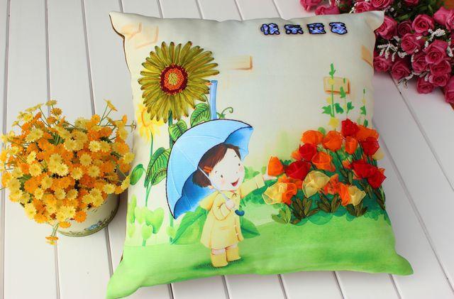 Crianças Frete grátis almofada travesseiro bordado fita travesseiro travesseiro carro DIY kit de desenhos animados que vivem infância feliz(China (Mainland))