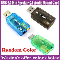 2 pcs/Lot_USB 2.0 Mic Speaker 5.1 Audio Sound Card Adapter_Free Shipping