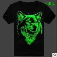 3 d free shipping sweethearts outfit luminous T-shirt Wolf individuality tide fluorescent dress with short sleeves  B17