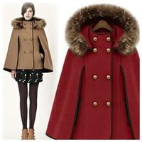 2013 spring fashion cape removable cap fur collar cloak overcoat outerwear