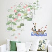 DIY Lotus wall art sticker parlor bedroom home decor tv Sofa background pvc sticker removable self adhesive  XY8025