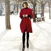2013 Autumn And Winter elegant Round Neck Woman's slim outerwear Coat loose woolen Celeb Ladies Red Coats Free Shipping