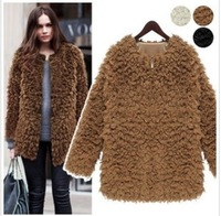 2013 women's fashion elegant Curly Fur Coat Luxury Europe Style Velvet faux medium-long Fur outerwear Jacket Free Shipping