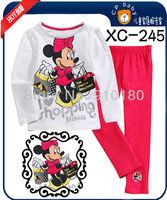 New design 6 sets/lot nightwear Baby Girls Cartoon Minnie sleepwear pajamas Kids Long sleeves pyjamas homewear
