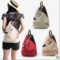 2014 fashion Beauty bag backpack women's small polka dot canvas backpack women's satanisms belle bag