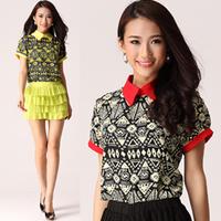 2014 spring geometry print peter pan small lapel colorant match formal all-match T-shirt short-sleeve shirt