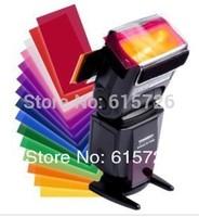 5set/lot  12 pcs/set color card for Strobist Flash Gel Filter Color Balance with rubber band ,diffuser Lighting Free shipping