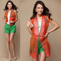 2014 summer long design silk print female vest elegant tie all-match vest send strap promotion