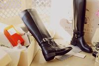 2013 vintage plus size genuine leather  flat heel high-leg boots