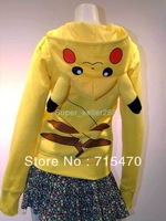 Free shipping Pokemon Pikachu Cartoon Animals Hoodie Hoody Cosplay Costume Clothes Japan Anime