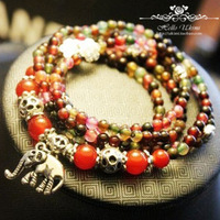 Natural red agate garnet bracelet,antique silver plated jewelry,multi color beads Thai elephant mascot