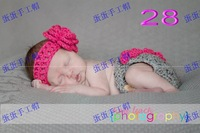 Fashion hot-selling handmade : big rose flower hair band layered cake crocheted panties baby photo props