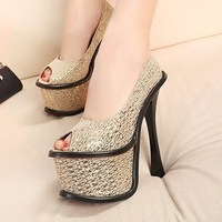 2013 fashion platform open toe bling sexy single  high-heeled  ultra women's shoes hot-selling