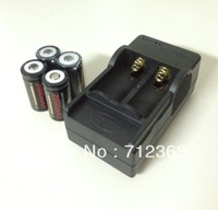 Free Shipping,4pcs Black GTL 16340 CR123A LR123A 2000 mAh 3.6V Rechargeable Li-ion Battery+16340 Charger