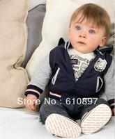 2013 Autumn wholesale Lovely bear 3 pcs kids boy's clothes suit(hooded coat+long t shirt+pants),5 sets/lot,Free Shipping