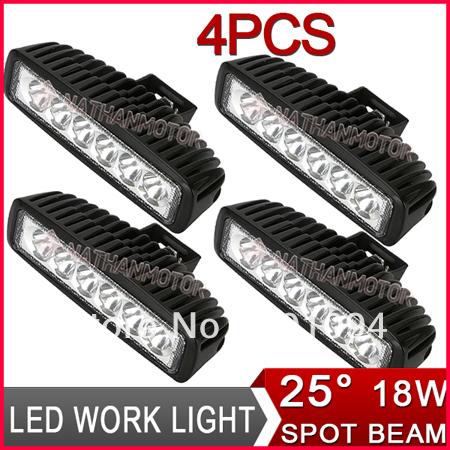 "4pcs 6"" 18W 6-LED*(3W Epistar) LED Work Light Mini Bar Off-Road SUV ATV 4WD Boat Driving Spot Flood Beam 1350lm 9-32V Truck Lamp(China (Mainland))"