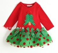 HB247 Fashion 2014 2015 new year christmas baby dress and girl santa dress/ full sleeve autumn/Wholesale and Retail Honey Baby