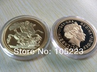 2013 year 1oz UK British Sovereign Gold Plated Round,50 Pcs/Lot Free Shipping,St George slay ,Order of england Sovereign Coins