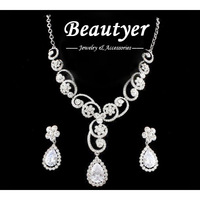 Beautyer / Romantic Floral Zircon Platinum Filled Wedding Jewelry Sets Earring and Necklace Set Silver Tone Bridal Jewelry