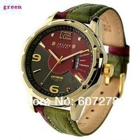 Free Shipping Julius 033 Fashion high quality calendar mens watches brand mix match double genuine leather male watch (brown)