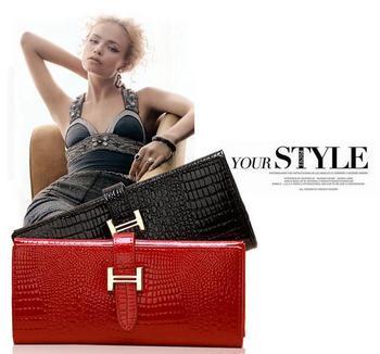 Fashion new arrival 2012 quality PU crocodile pattern women's long design wallet female women's japanned leather wallet