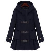 2014 new spring autumn winter women's wool coat fashion medium-long hood woolen coat WTP1 Y8P0