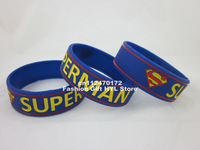 "1pc Superman wristband, silicon bracelet, 3/4"" wide band, filled in colour, free shipping"